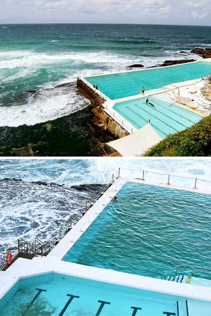 Bondi Icebergs Club, Bondi Beach (near Sydney), Australia - This Australian icon is located on the beach just outside of Sydney. This swimming pool is designed to have the ocean waves crash directly in to it. Click through to see 20 more of the best pools in the world!