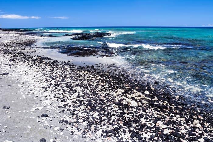 Black and white rock beach in Kona, Hawaii