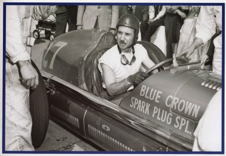 Mauri in the Blue Spark car!