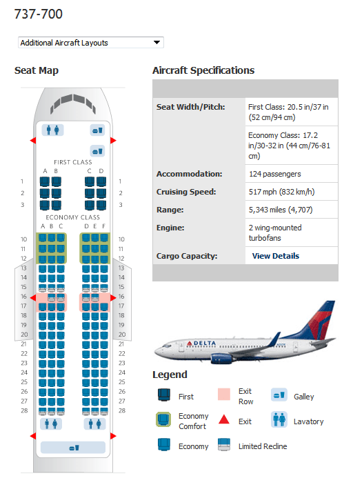 Delta 737 700 Chart Boeing 800 Seating Map