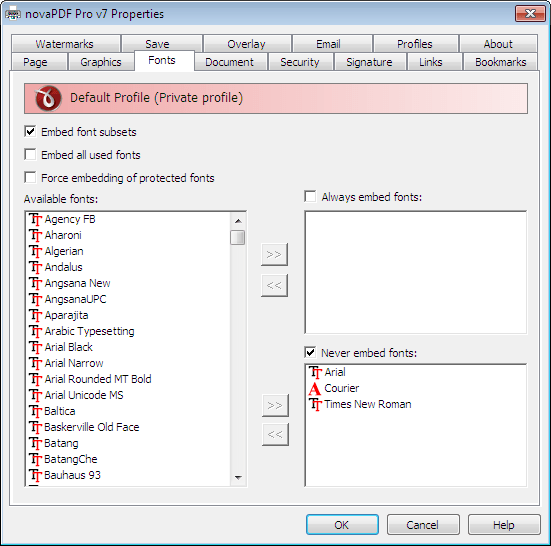 Embedding fonts of Office document into PDF