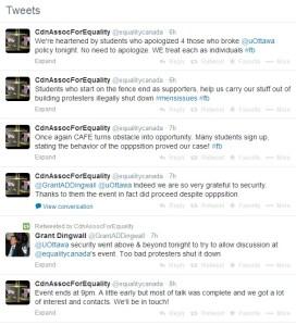 CAFE tweets regarding aftermath of Dr. Fiamengo's lecture