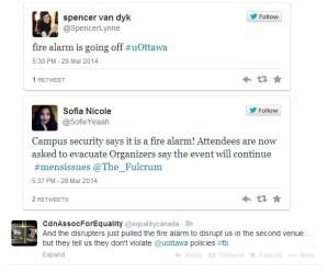 Fire alarm - protesters disrupt Dr. Janice Fiamengo's talk (Tweets)