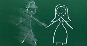 Man and Woman on Chalkboard, Man Erased - Men/Boys in Education