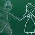 Man and Woman on Chalkboard, Man Erased - Men/Boys in Education