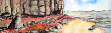 Painting of a rocky cliff and beach. Painting not one of my best. In fact I think it's pants.