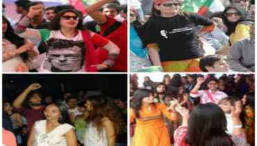 Girls dancing in PTI jalsa