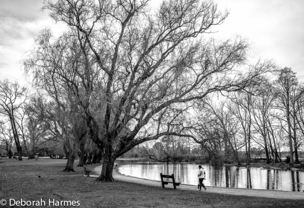 Unidentified woman and child walk along the lakeside on a cold winter day.
