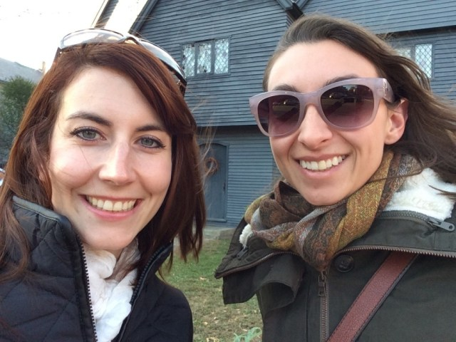 In front of the Witch House, Salem.