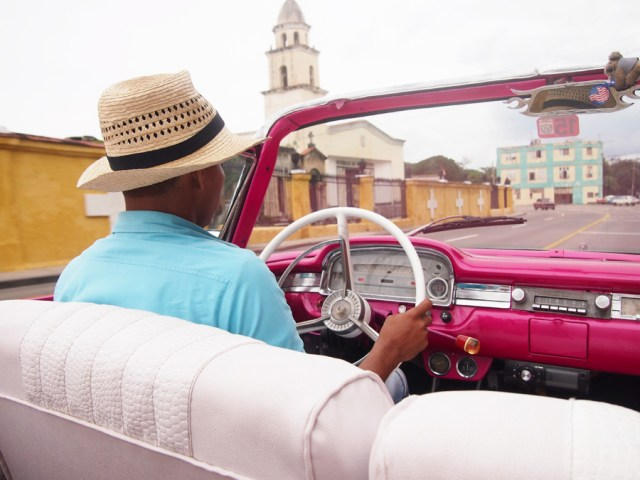 Pink convertible in Havana