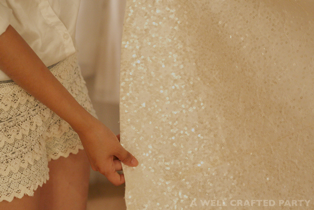 hand stitched beading and sequins by Sunjin Lee for her own wedding