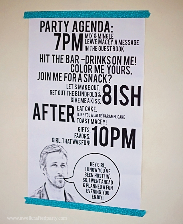 Ryan Gosling Themed Party Agenda // A Well Crafted Party