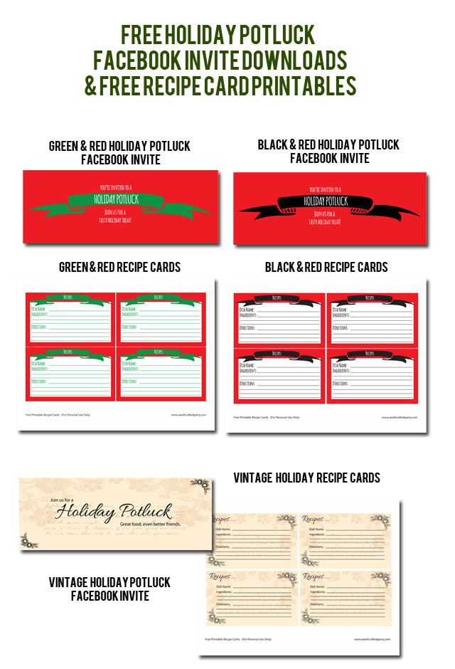 Holiday Potluck Free Downloads & Printables // A Well Crafted Party