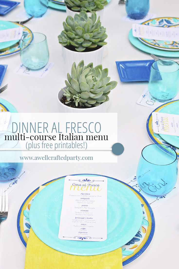 Dinner al Fresco menu and free printables