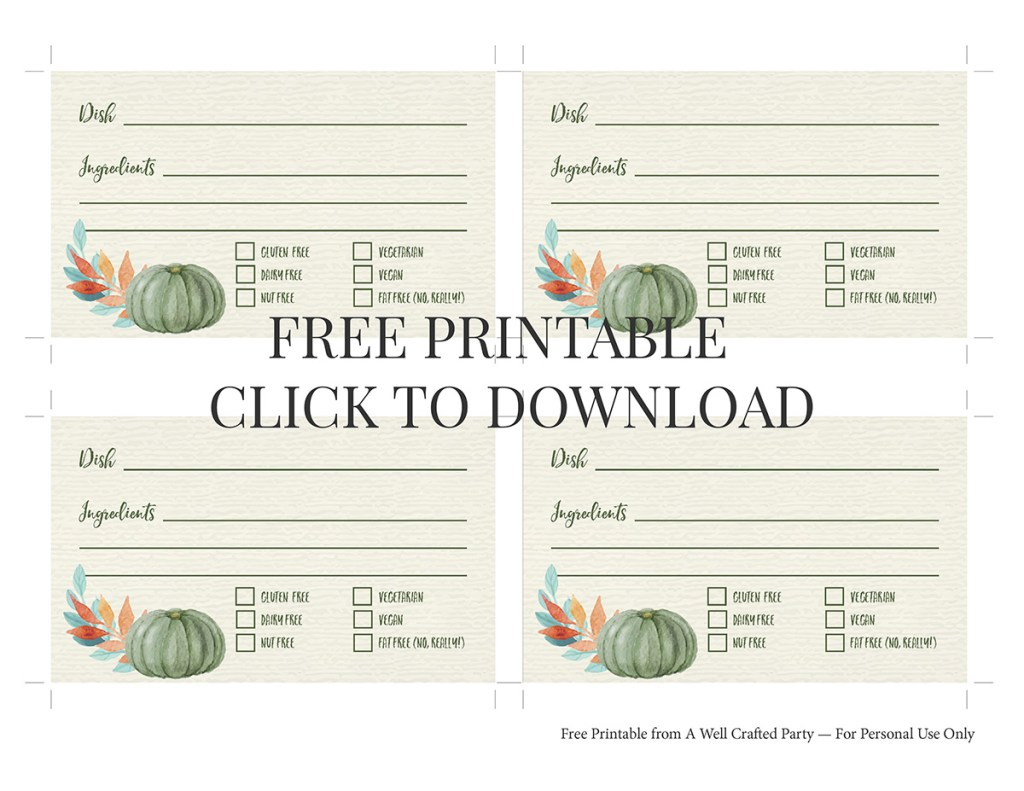 Free Printable Thanksgiving Potluck Cards