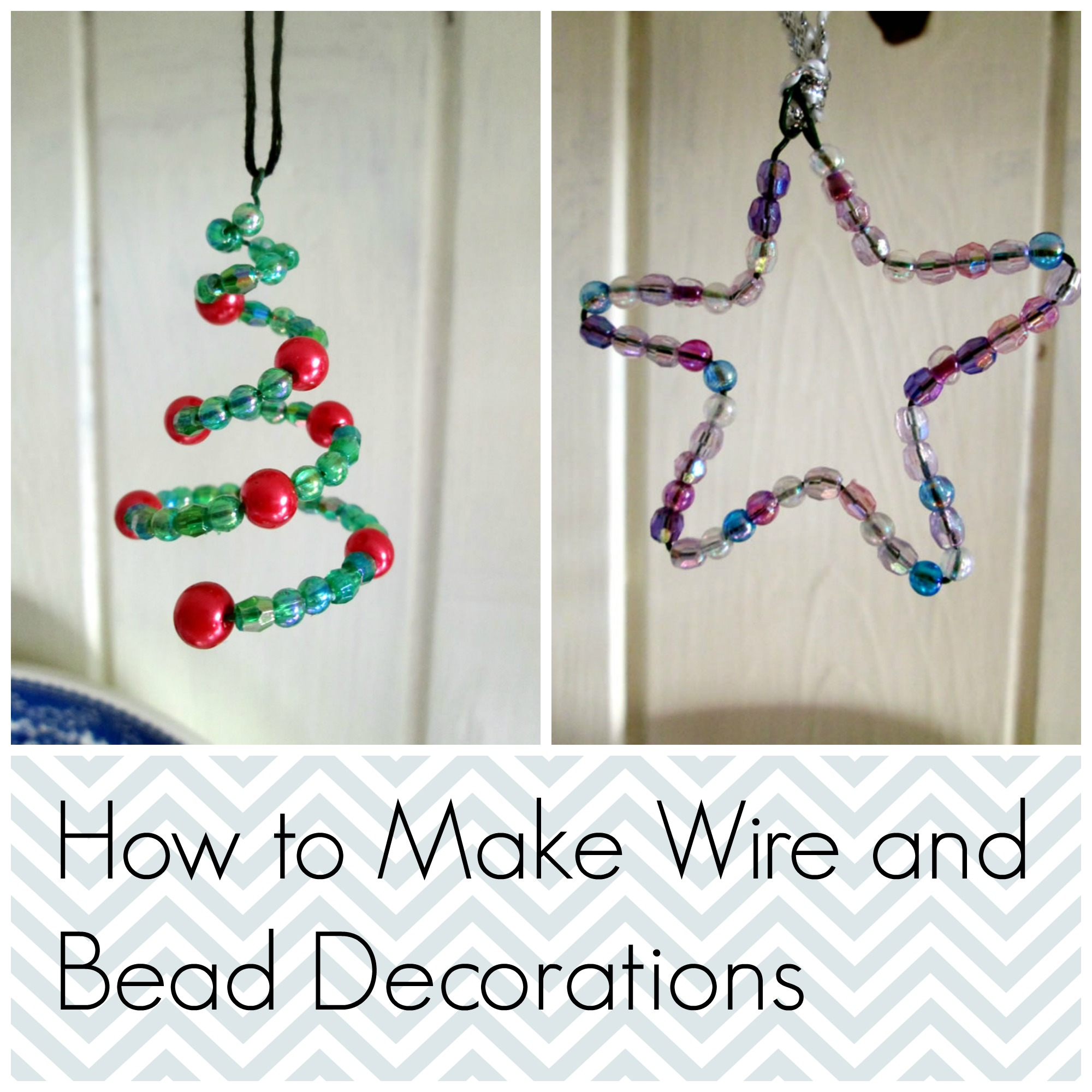 Wire and bead christmas decorations tea a sewing machine