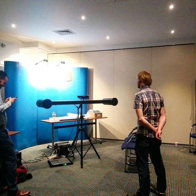 Transaural system using kinect for headtracking. Looking forward to give it a try!