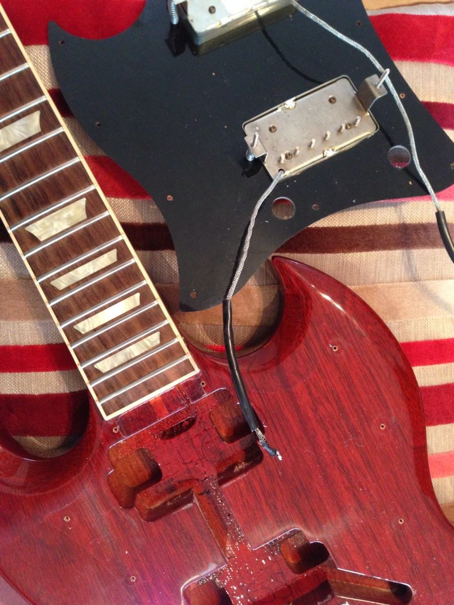 Gibson Service Giftsforsubs 1965 Es345 Wiring Repair Chicago Fret Works Guitar Sg Pickup Remov