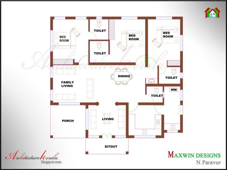 Unique Single Floor 4 Bedroom House Plans Kerala
