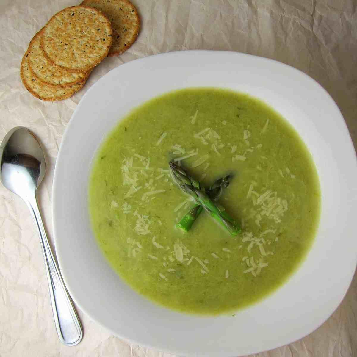 Leek Asparagus Soup with Parmesan