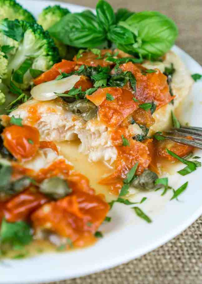 A truly wonderful dinner ready in 20 minutes! Tender flaky Swai Fillets with Tomato Caper Sauce topped with fresh herbs is irresistible, easy to cook, and very healthy. This recipe is great way to use seasonal produce and herbs. From http://www.babaganosh.org