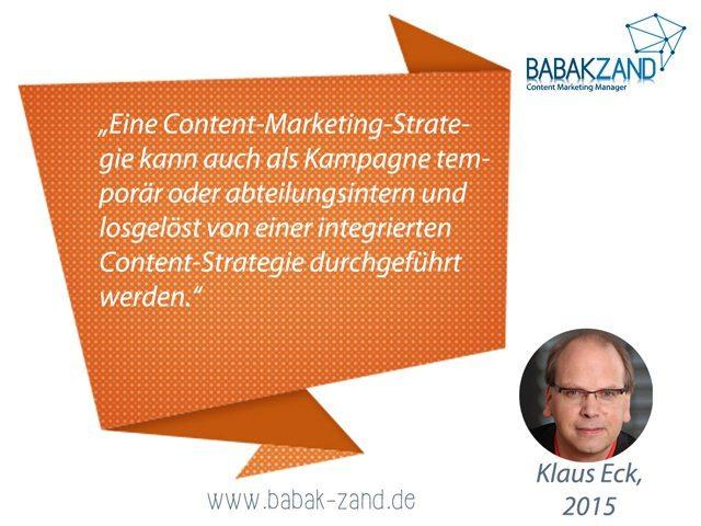 Zitat Klaus Eck zu Content-Marketing-Strategie (2015)