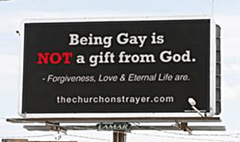 Strayer Church anti-gay billboard