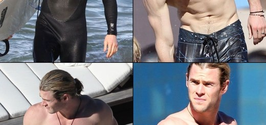 Chris Hemsworth strips bulge-tile