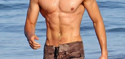 EXCLUSIVE_ A Shirtless Zac Efron showed off his six pack abs while trying sneak in an early morning swim with his brother Dylan.