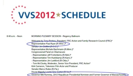 VVS schedule Romney and Ryan