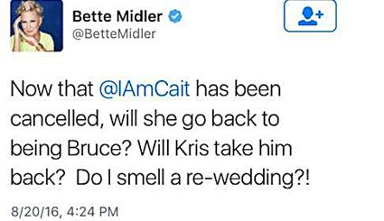 Bette Midler's Caitlyn Jenner Tweet