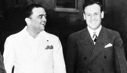 "J. Edgar Hoover, left, with his "" assistant"" Clyde Tolson"