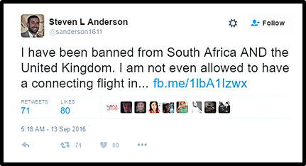 "Deplorable Anti-Gay Hate Preacher Steven Anderson Banned From Entering South Africa Labeled As ""Undesirable"""
