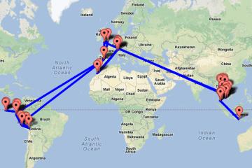 gap year travel plan map rtw