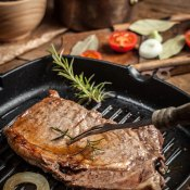 Steak with Rosemary, Gorgonzola and Port Sauce