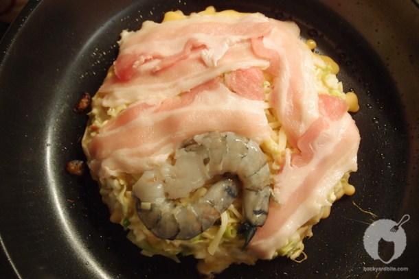 Okonomiyaki on the stove