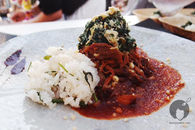 Spicy gochujang braised pork w/ watercress and vegetable rice by Chef Lucia Cho from Seoul, Korea