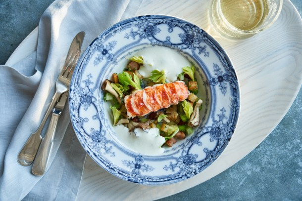 Butter Poached Lobster Tail: Roasted Potatoes, and crispy pancetta, in a white onion soubise. Photo Courtesy of Princess Cruises SHARE