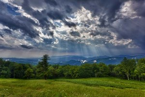 Storm sweeps over Shenandoah Valley from Skyline Drive in the Blue Ridge Mountains of Virginia
