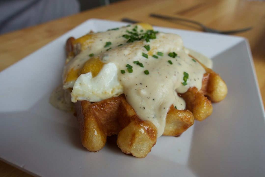 Savory waffle and gravy at Waffle Window in Portland