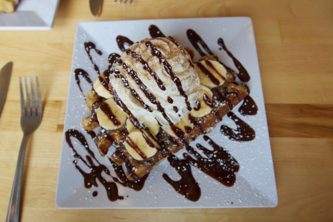 Nutella banana waffle at Waffle Window in Portland Oregon