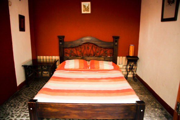 Double bed in a room