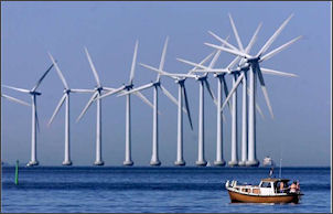 Renewable wind-powered turbines off the New Zealand coast.