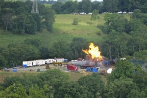 A natural gas well fire in nothern West Virginia