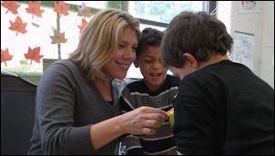 Principal Tina McCay with students at Goochland Elementary.