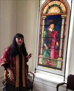 Jennifer Hurst-Wender with Preservation Virginia talks about a romanticized stained-glass portrait, circa 1900, of Nathaniel Bacon.