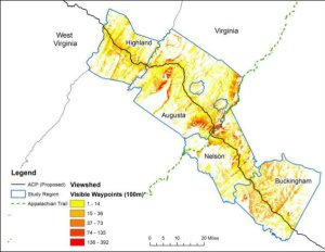 Viewshed impact of proposed Atlantic Coast Pipeline route through Highland, Augusta, Nelson and Buckingham Counties. Source: Key-Log Economics LLC study.