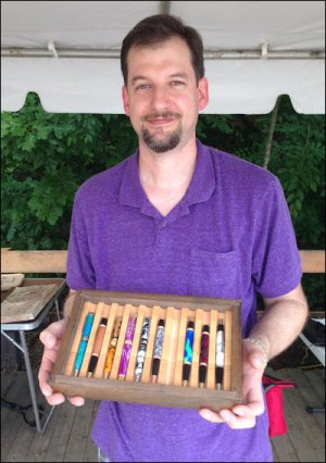 With a full-time job, Clark Brimmet dallies in a range of crafts in his spare time. Among his creations are these pens with customized bodies. I bought one. Hey, at $20 it has a lot more personality than anything I could purchase at Office Max.