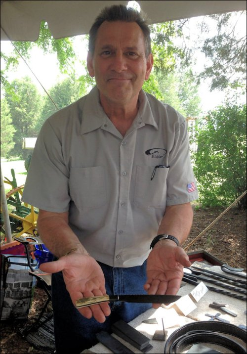 John Richter, retired from the military, lives in Chesapeake. His specialty is hand-made knives. Most of his creations seem made for use in the kitchen around the house -- no Navy Seal combat knives here!