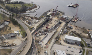 Construction zone of Midtown Tunnel. Photo credit: Virginian-Pilot